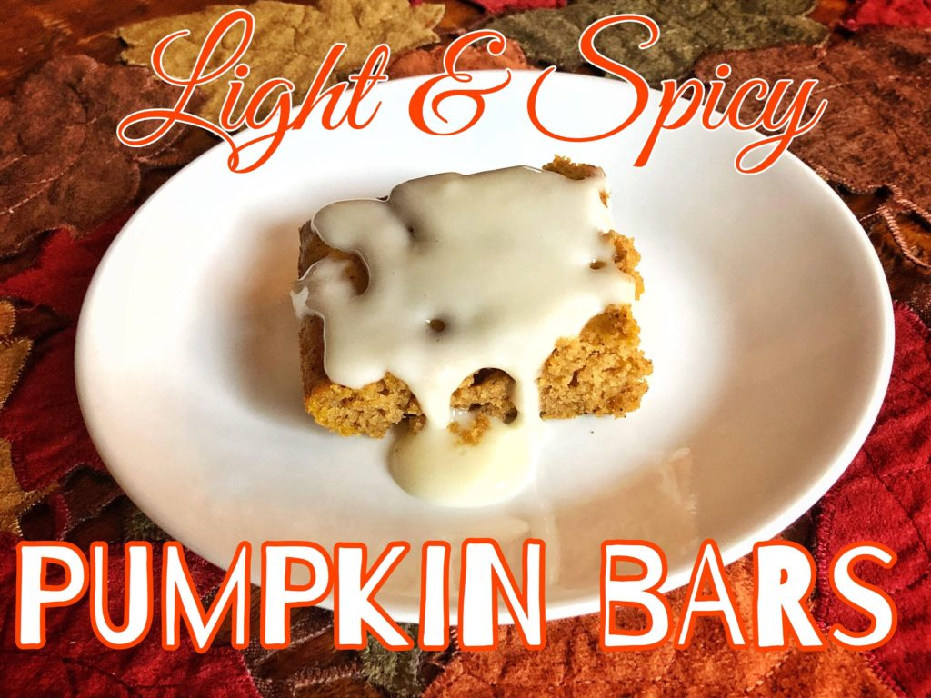 Light and spicy pumpkin bars lets go fitness i have been making these pumpkin bars for about 15 years the original recipe is from my trusty pillsbury book of baking which is my go to for all things aloadofball Image collections